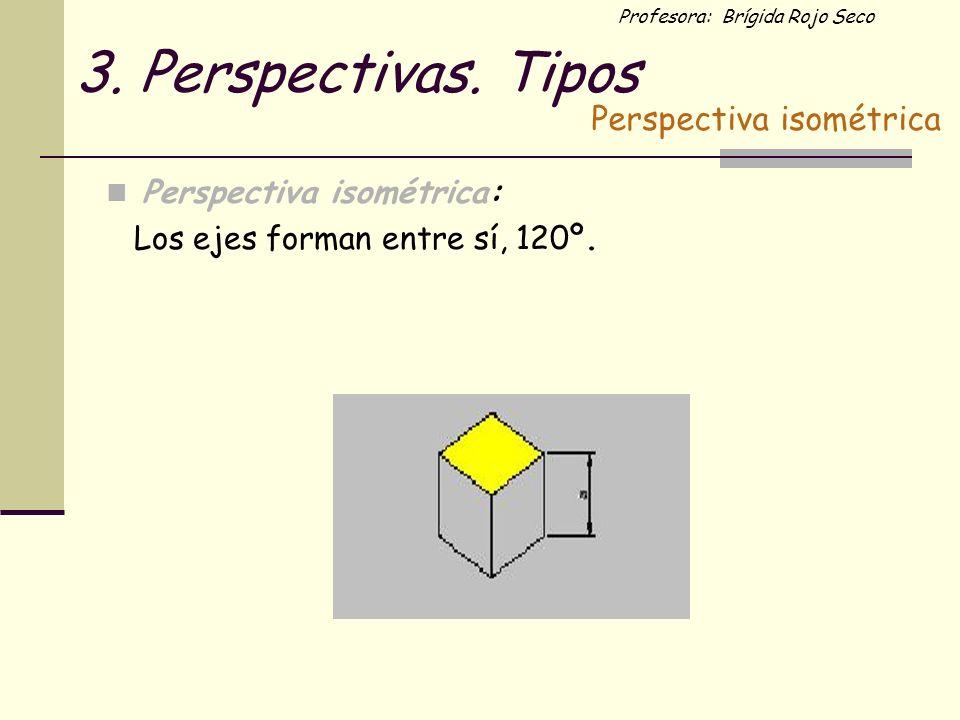 3. Perspectivas. Tipos Perspectiva isométrica Perspectiva isométrica: