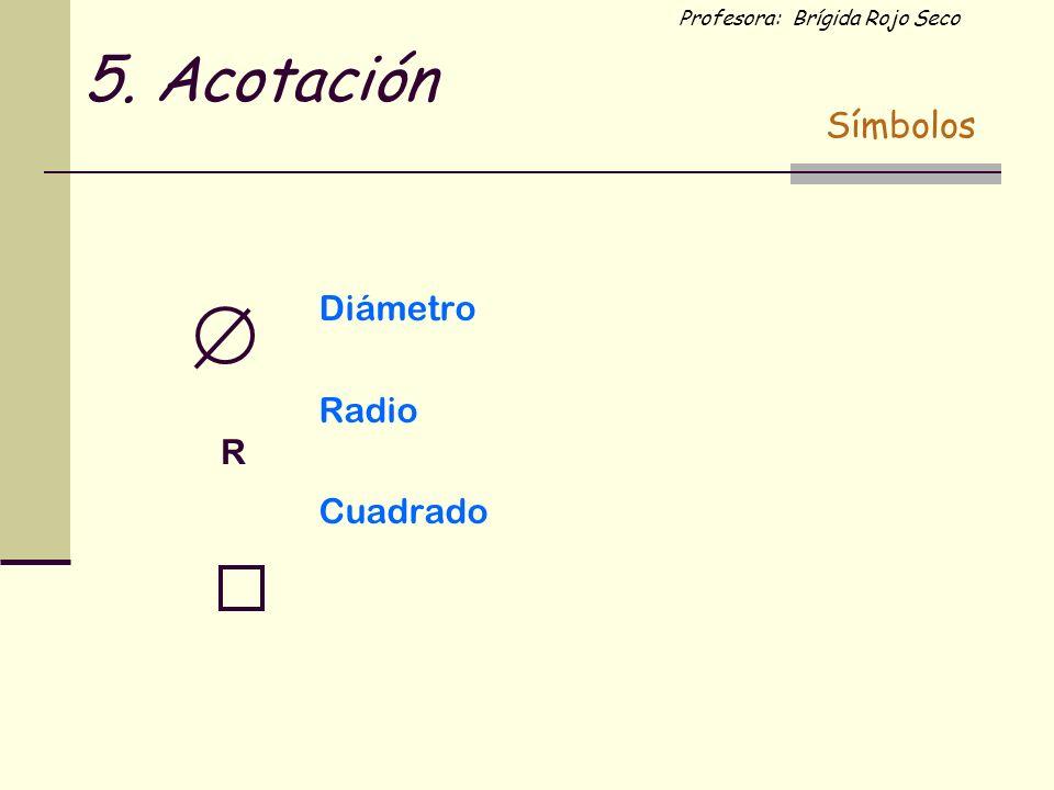 5. Acotación Símbolos Diámetro Radio Cuadrado R