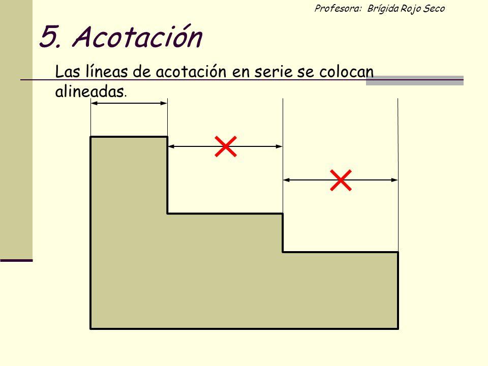 5. Acotación Las líneas de acotación en serie se colocan alineadas.