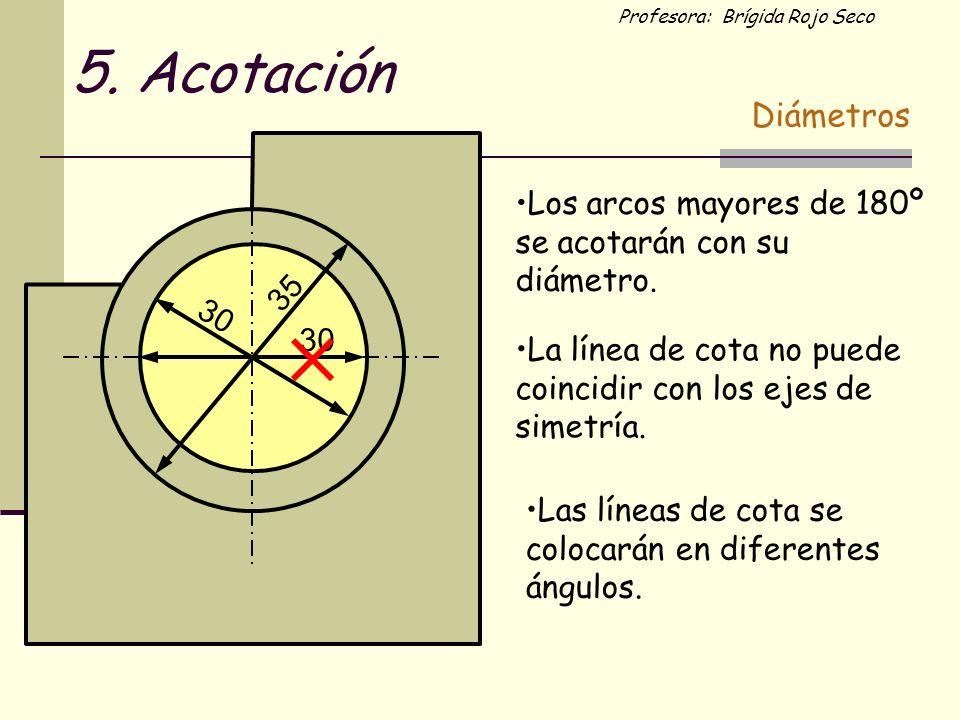 5. Acotación Diámetros. Los arcos mayores de 180º se acotarán con su diámetro. 35. 30. 30.