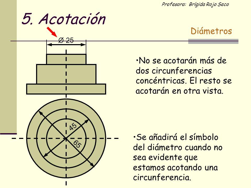 5. Acotación Diámetros. O. 25. No se acotarán más de dos circunferencias concéntricas. El resto se acotarán en otra vista.