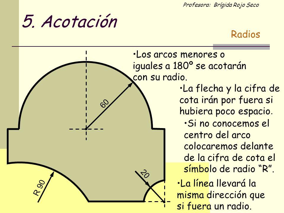 5. Acotación Radios. Los arcos menores o iguales a 180º se acotarán con su radio.