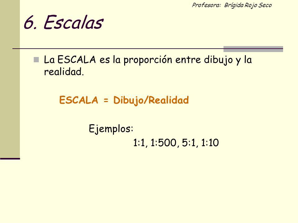 6. Escalas La ESCALA es la proporción entre dibujo y la realidad.