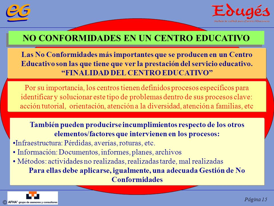 NO CONFORMIDADES EN UN CENTRO EDUCATIVO