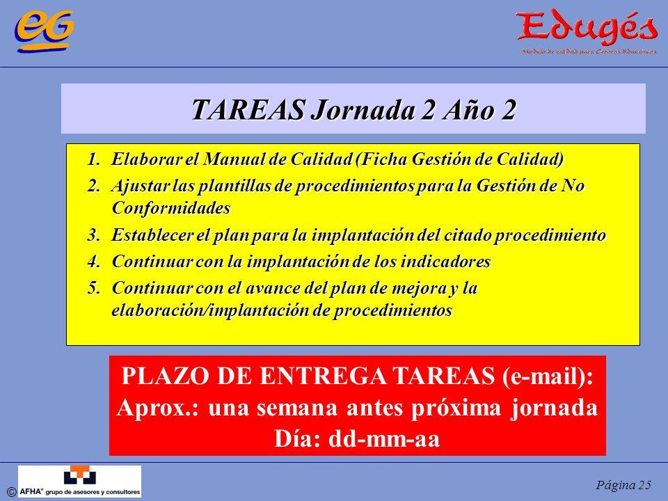 TAREAS Jornada 2 Año 2 PLAZO DE ENTREGA TAREAS (e-mail):