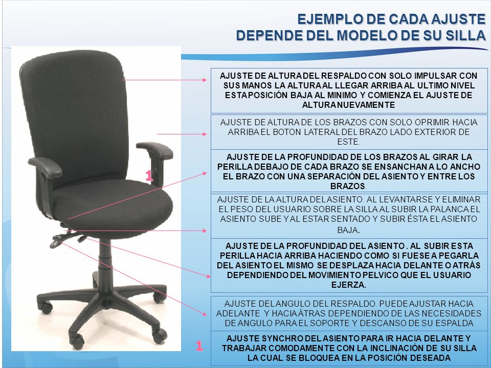 EJEMPLO DE CADA AJUSTE DEPENDE DEL MODELO DE SU SILLA