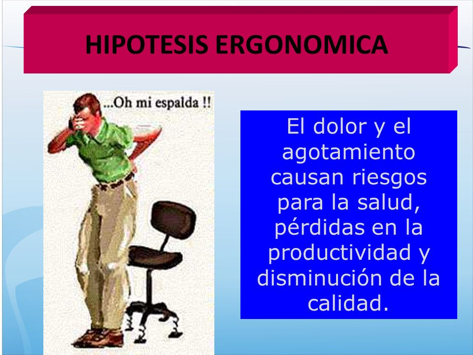 HIPOTESIS ERGONOMICA El dolor y el agotamiento causan riesgos para la salud, pérdidas en la productividad y disminución de la calidad.