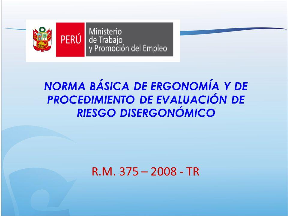 NORMA BÁSICA DE ERGONOMÍA Y DE PROCEDIMIENTO DE EVALUACIÓN DE RIESGO DISERGONÓMICO