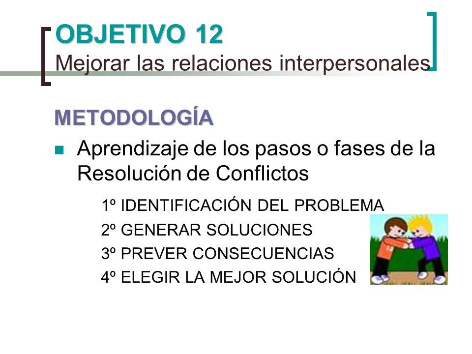 OBJETIVO 12 Mejorar las relaciones interpersonales