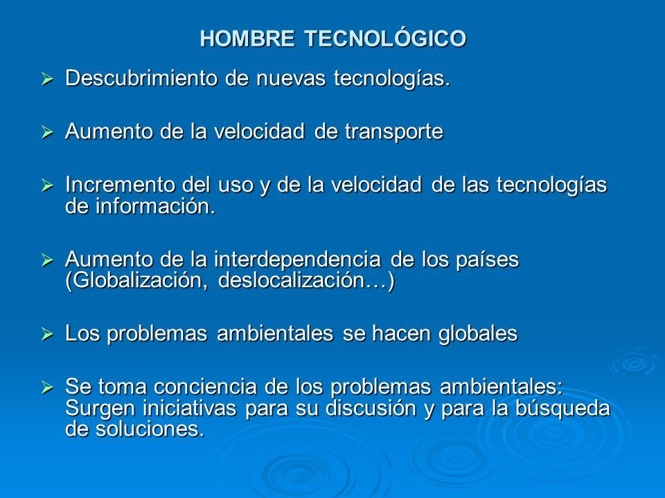 HOMBRE TECNOLÓGICO Descubrimiento de nuevas tecnologías. Aumento de la velocidad de transporte.