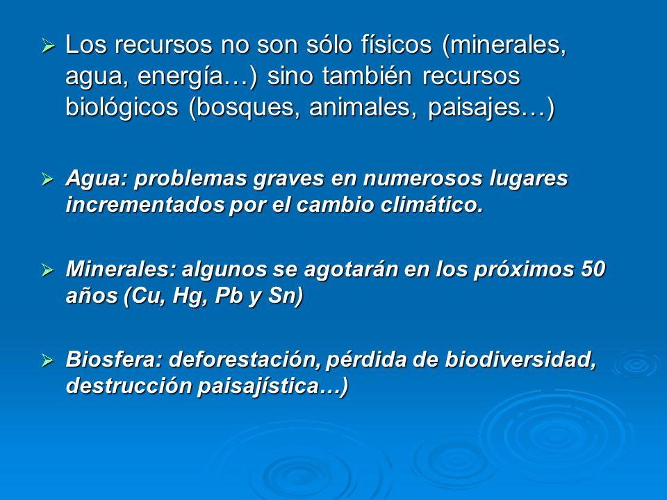 Los recursos no son sólo físicos (minerales, agua, energía…) sino también recursos biológicos (bosques, animales, paisajes…)