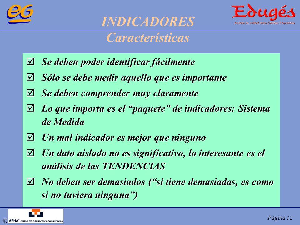 INDICADORES Características