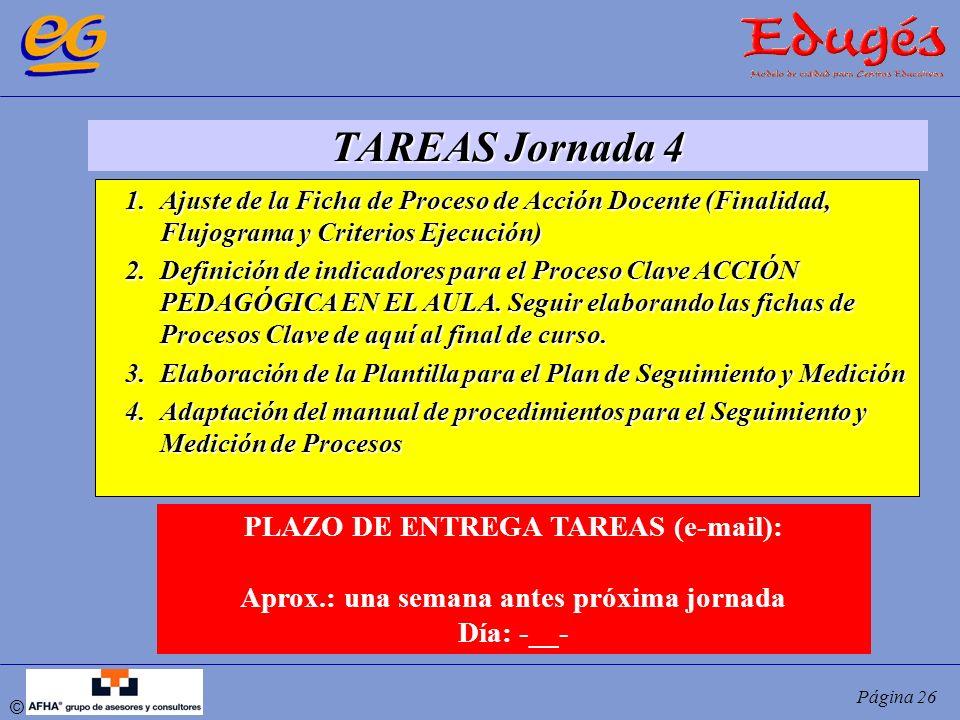 TAREAS Jornada 4 PLAZO DE ENTREGA TAREAS (e-mail):