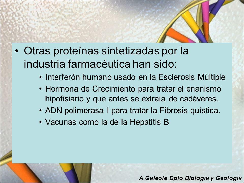 Otras proteínas sintetizadas por la industria farmacéutica han sido: