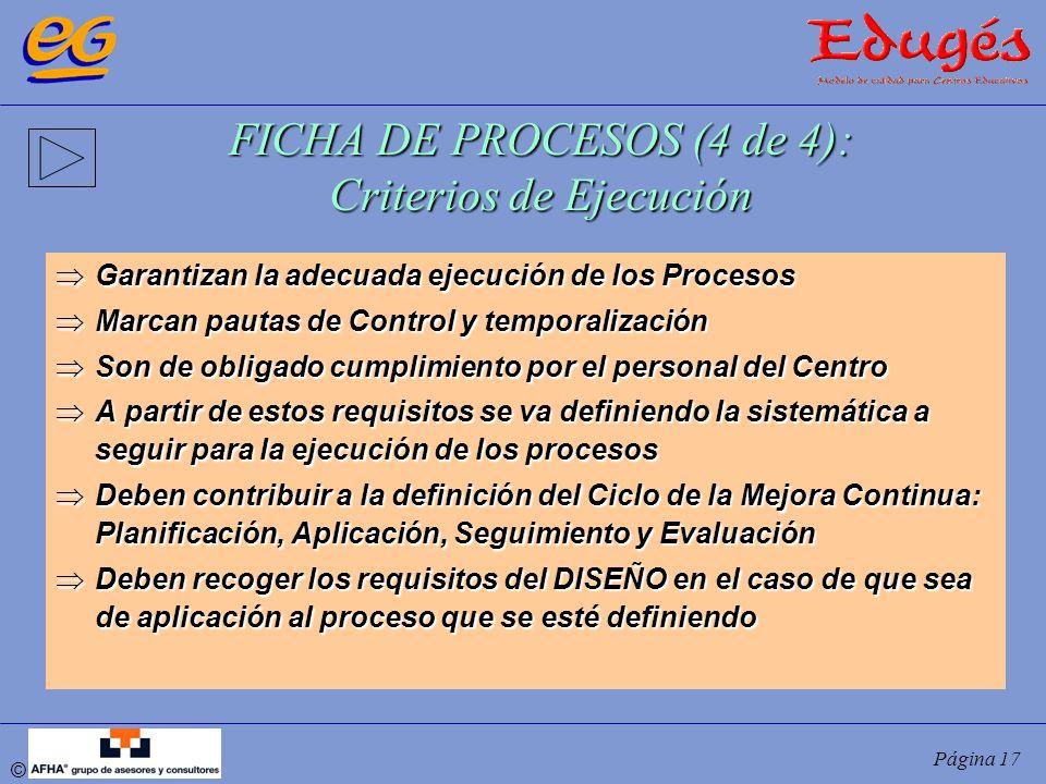 FICHA DE PROCESOS (4 de 4): Criterios de Ejecución