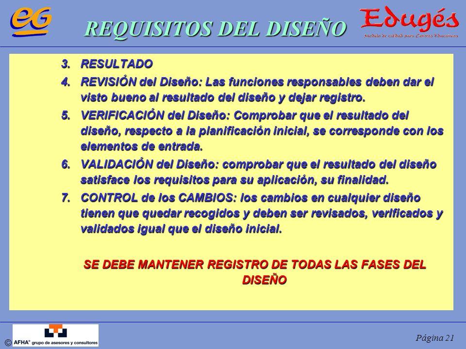 SE DEBE MANTENER REGISTRO DE TODAS LAS FASES DEL DISEÑO