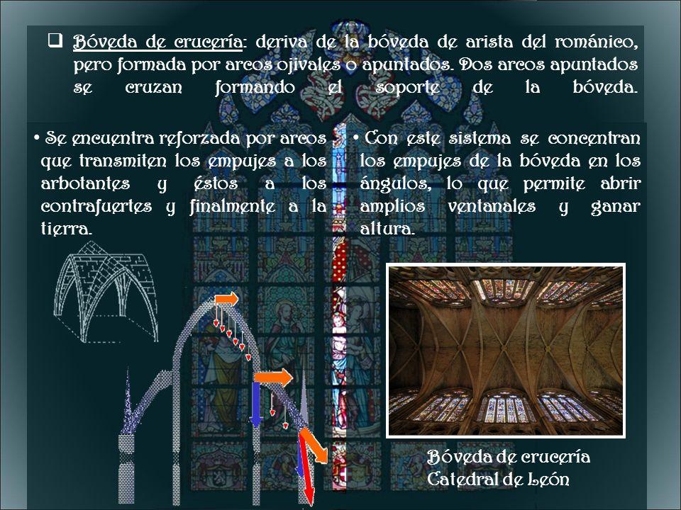 Bóveda de crucería: deriva de la bóveda de arista del románico, pero formada por arcos ojivales o apuntados. Dos arcos apuntados se cruzan formando el soporte de la bóveda.