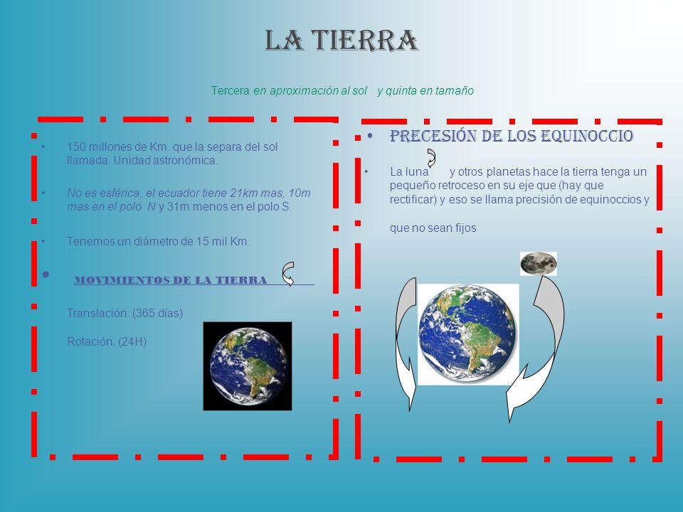 LA TIERRA Tercera en aproximación al sol y quinta en tamaño