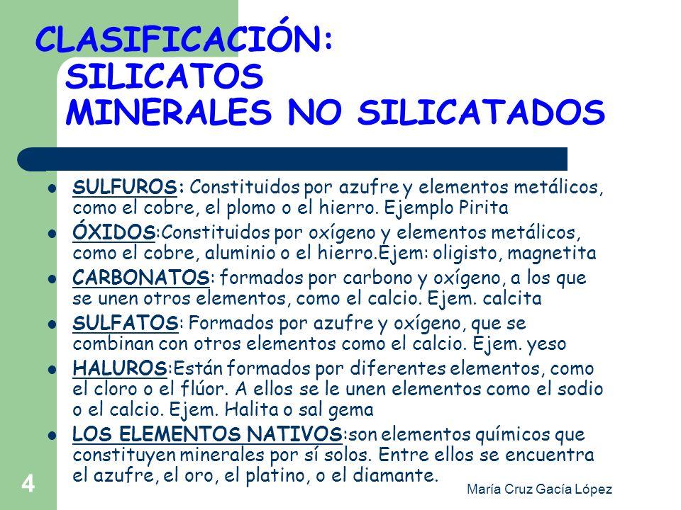 CLASIFICACIÓN: SILICATOS MINERALES NO SILICATADOS
