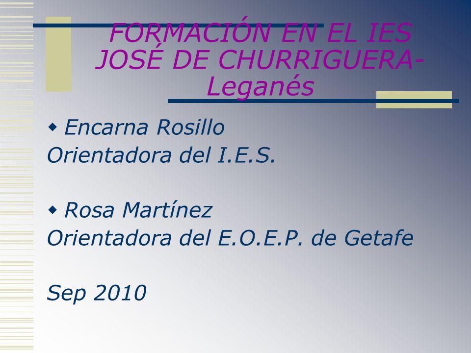 FORMACIÓN EN EL IES JOSÉ DE CHURRIGUERA- Leganés