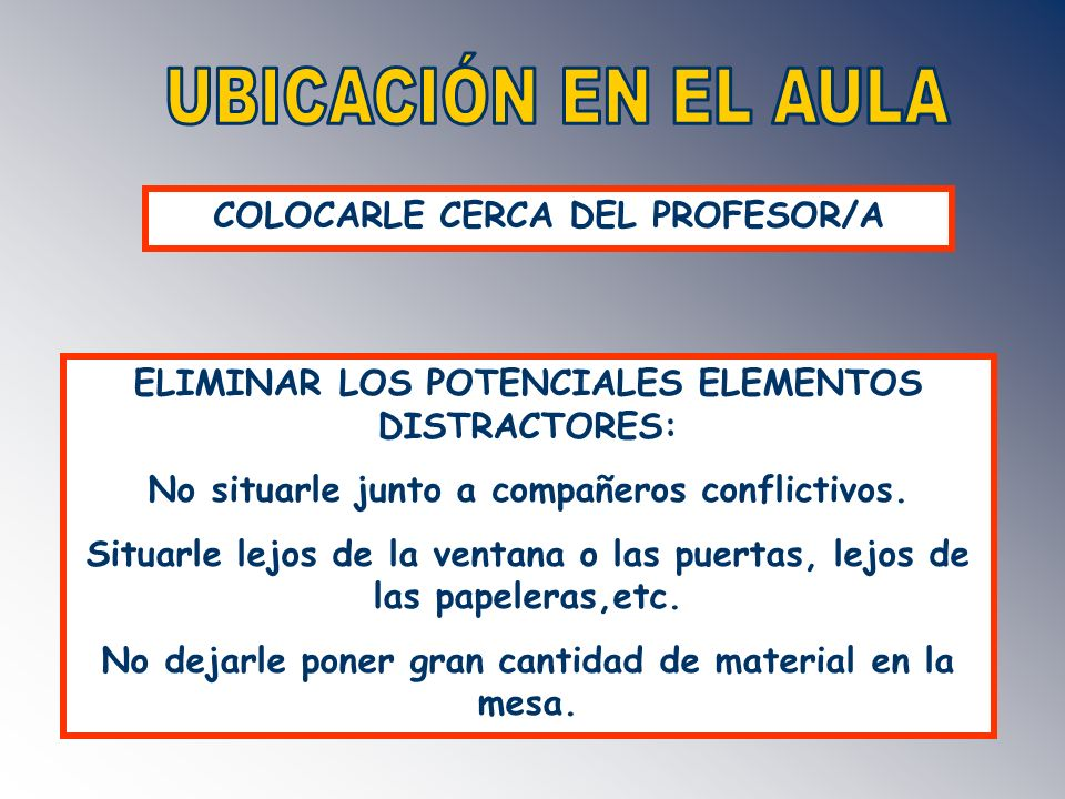UBICACIÓN EN EL AULA COLOCARLE CERCA DEL PROFESOR/A