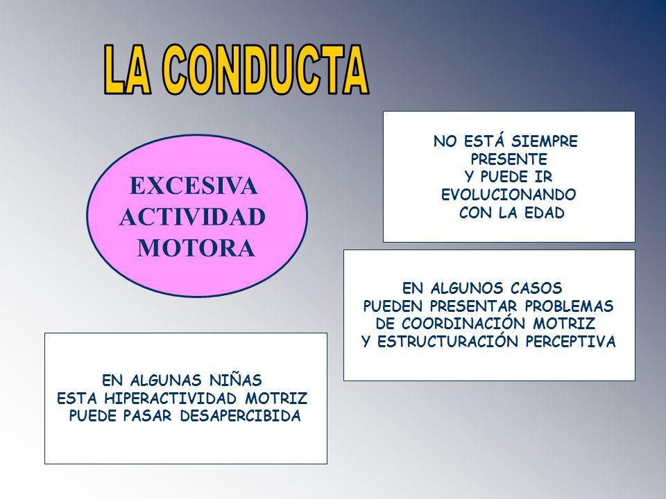 LA CONDUCTA EXCESIVA ACTIVIDAD MOTORA NO ESTÁ SIEMPRE PRESENTE