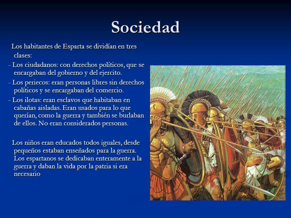 Sociedad Los habitantes de Esparta se dividían en tres clases:
