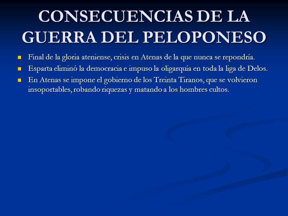 CONSECUENCIAS DE LA GUERRA DEL PELOPONESO