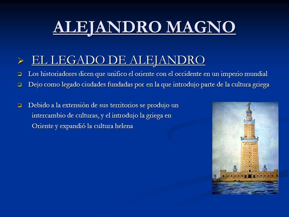 ALEJANDRO MAGNO EL LEGADO DE ALEJANDRO