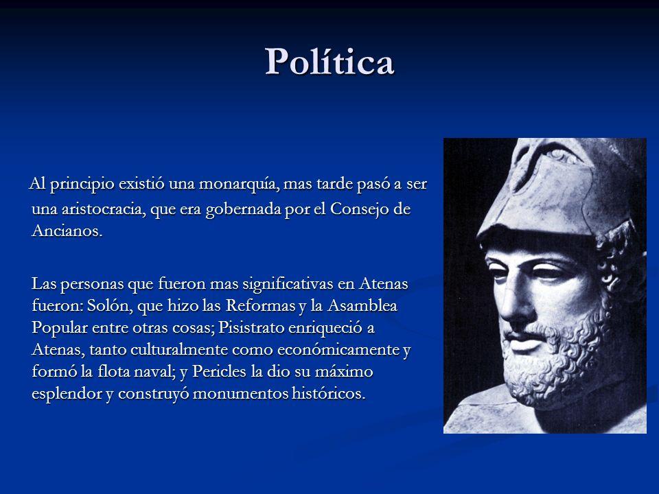 Política Al principio existió una monarquía, mas tarde pasó a ser una aristocracia, que era gobernada por el Consejo de Ancianos.