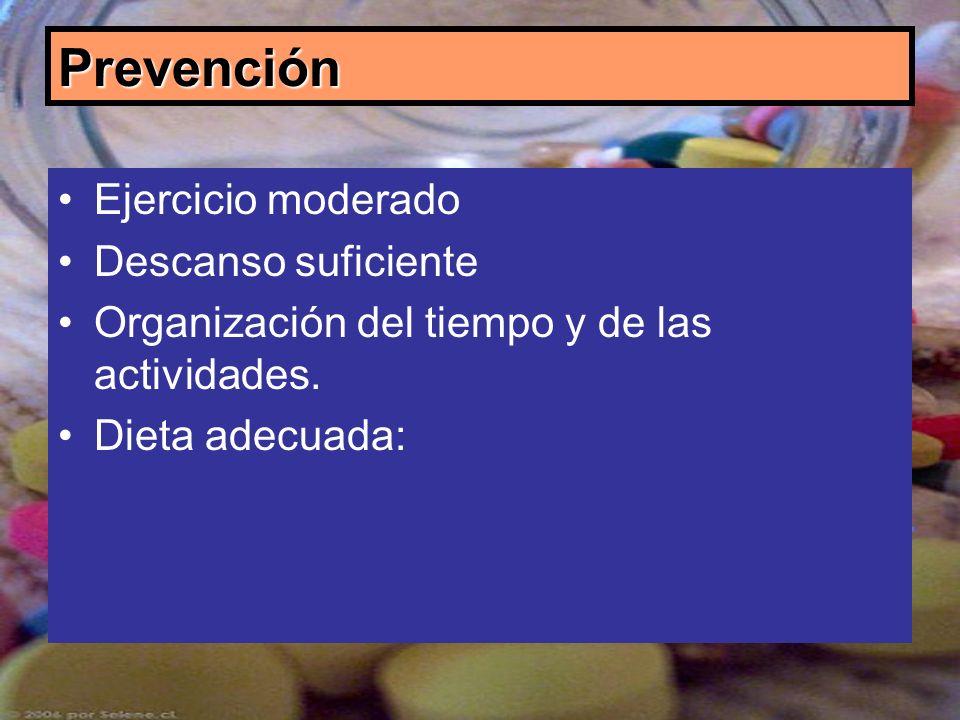 Prevención Ejercicio moderado Descanso suficiente