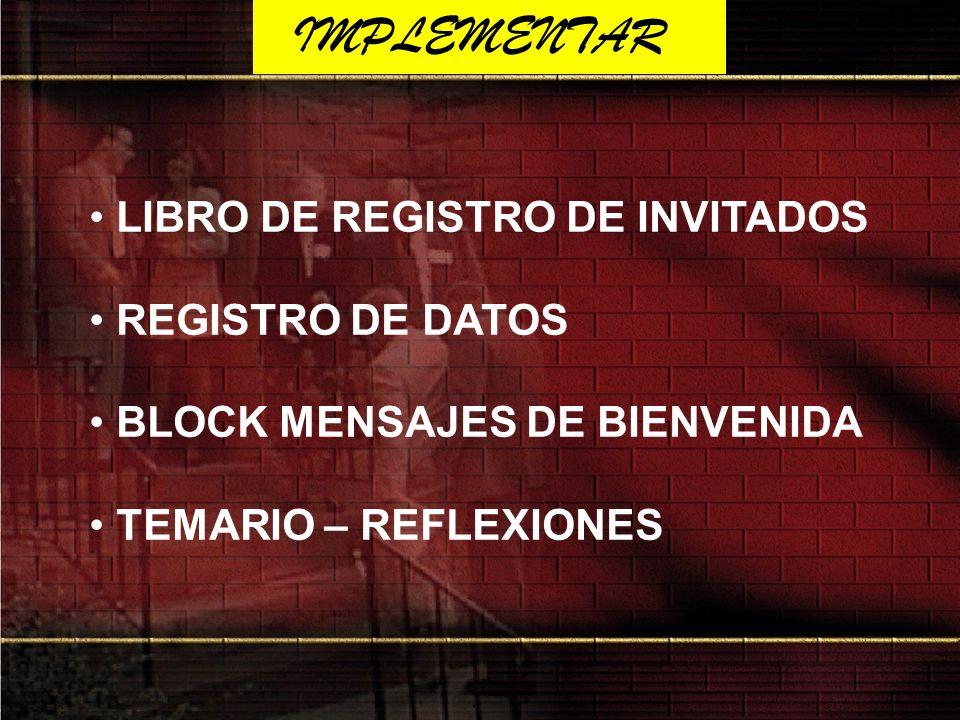 IMPLEMENTAR LIBRO DE REGISTRO DE INVITADOS REGISTRO DE DATOS