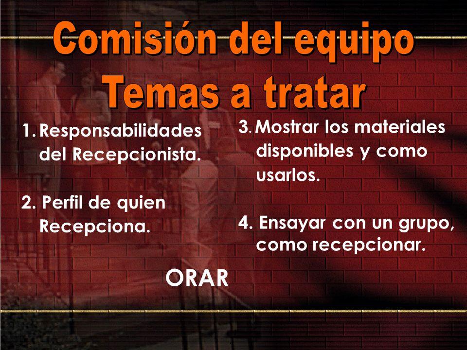 ORAR Comisión del equipo Temas a tratar
