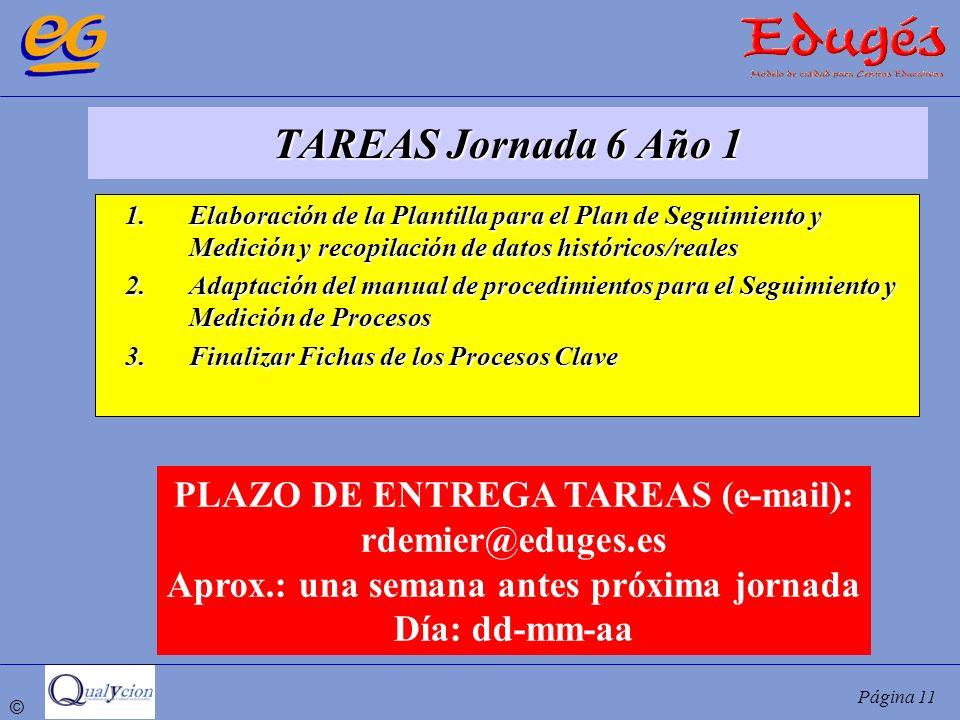 TAREAS Jornada 6 Año 1 PLAZO DE ENTREGA TAREAS (e-mail):