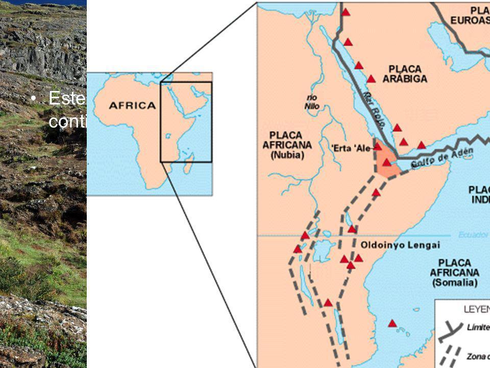 Este proceso de partición de la corteza continental se puede observar en África Oriental