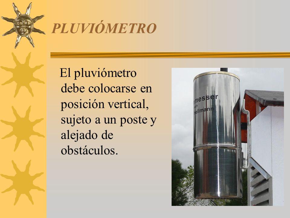PLUVIÓMETRO El pluviómetro debe colocarse en posición vertical, sujeto a un poste y alejado de obstáculos.