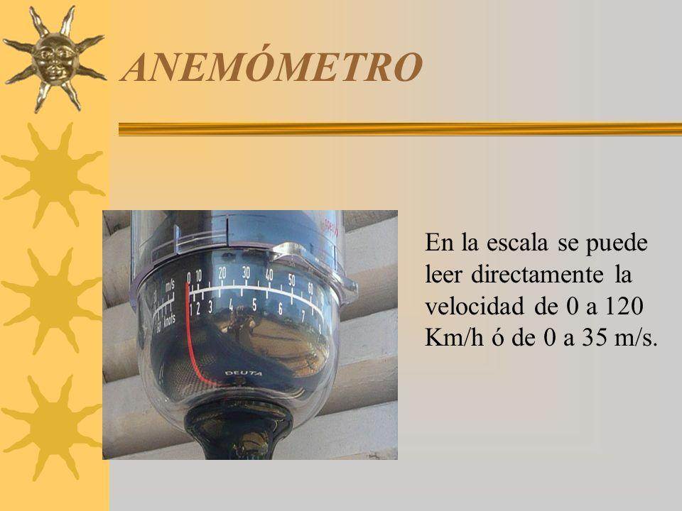 ANEMÓMETRO En la escala se puede leer directamente la velocidad de 0 a 120 Km/h ó de 0 a 35 m/s.