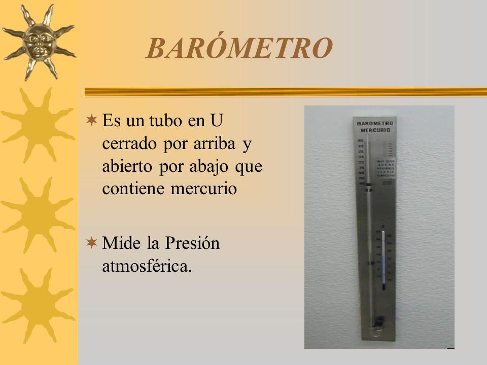 BARÓMETRO Es un tubo en U cerrado por arriba y abierto por abajo que contiene mercurio.