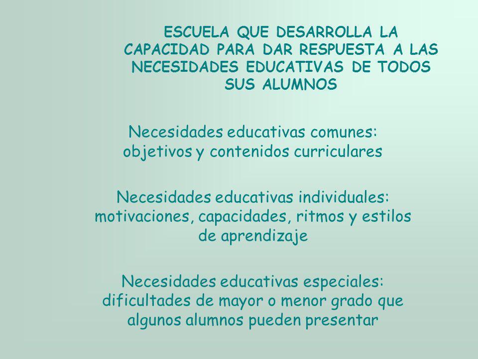 Necesidades educativas comunes: objetivos y contenidos curriculares