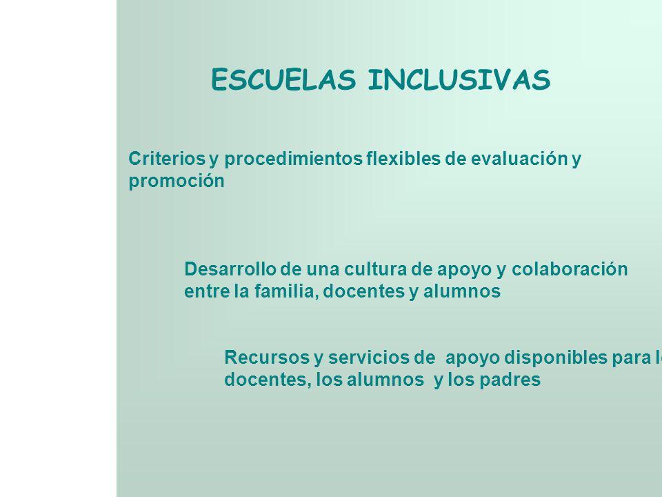 ESCUELAS INCLUSIVASCriterios y procedimientos flexibles de evaluación y. promoción. Desarrollo de una cultura de apoyo y colaboración.