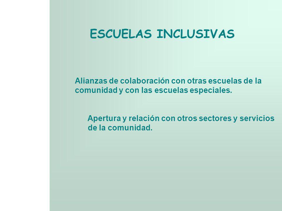 ESCUELAS INCLUSIVAS Alianzas de colaboración con otras escuelas de la