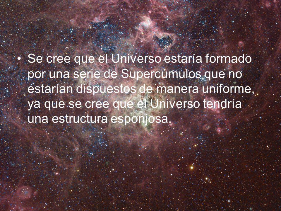 Se cree que el Universo estaría formado por una serie de Supercúmulos que no estarían dispuestos de manera uniforme, ya que se cree que el Universo tendría una estructura esponjosa.