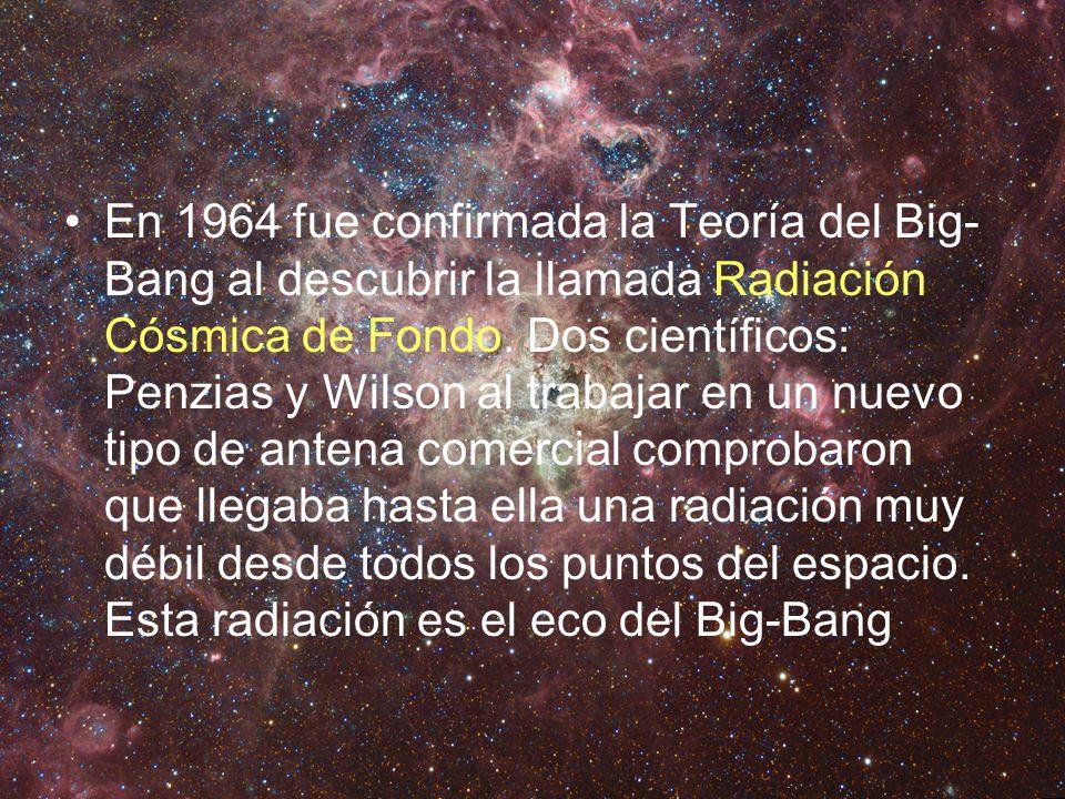 En 1964 fue confirmada la Teoría del Big-Bang al descubrir la llamada Radiación Cósmica de Fondo.