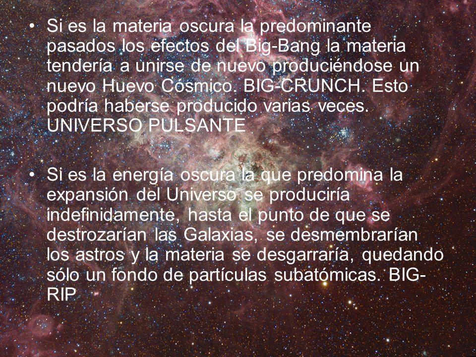 Si es la materia oscura la predominante pasados los efectos del Big-Bang la materia tendería a unirse de nuevo produciéndose un nuevo Huevo Cósmico. BIG-CRUNCH. Esto podría haberse producido varias veces. UNIVERSO PULSANTE