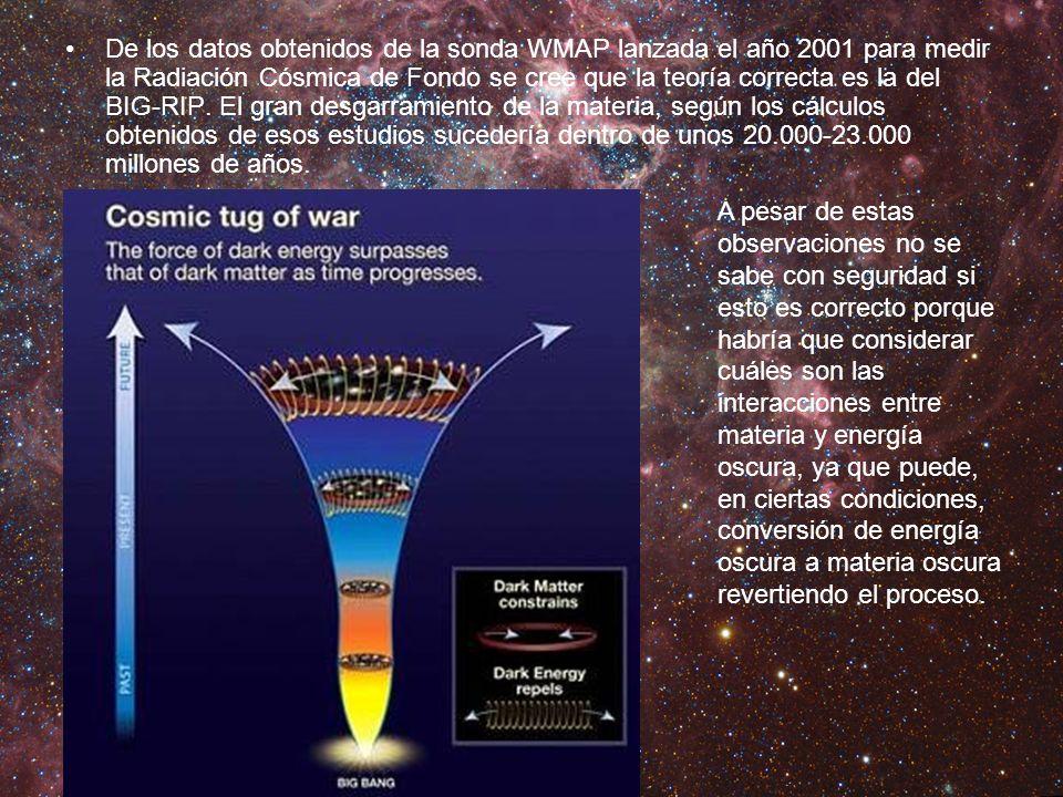 De los datos obtenidos de la sonda WMAP lanzada el año 2001 para medir la Radiación Cósmica de Fondo se cree que la teoría correcta es la del BIG-RIP. El gran desgarramiento de la materia, según los cálculos obtenidos de esos estudios sucedería dentro de unos 20.000-23.000 millones de años.