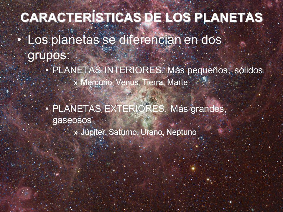 CARACTERÍSTICAS DE LOS PLANETAS
