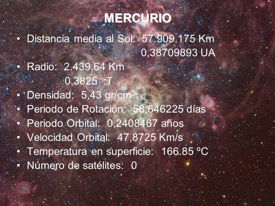 MERCURIO Distancia media al Sol: 57.909.175 Km 0,38709893 UA