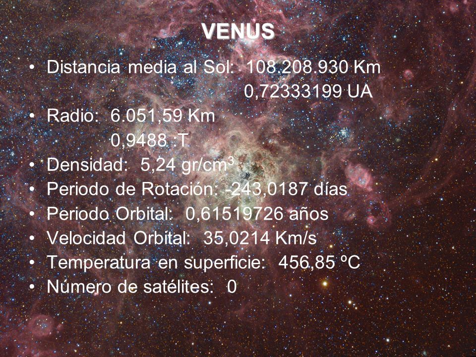 VENUS Distancia media al Sol: 108.208.930 Km 0,72333199 UA