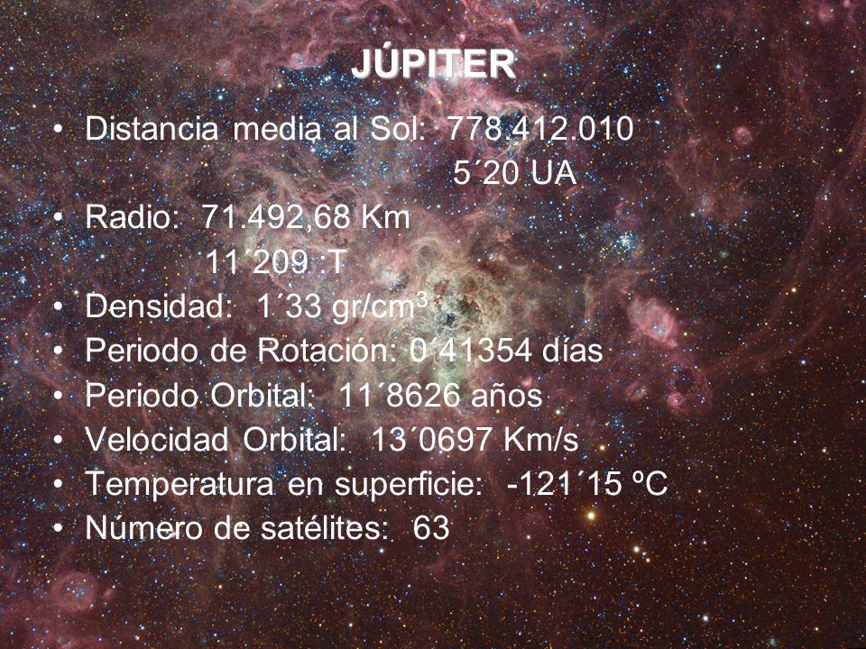 JÚPITER Distancia media al Sol: 778.412.010 5´20 UA