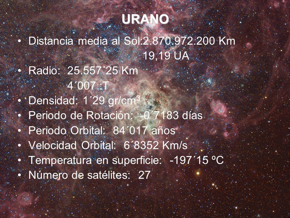 URANO Distancia media al Sol:2.870.972.200 Km 19,19 UA